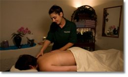 Massage therapist working on a client's back